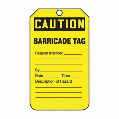 Accuform TAB105CTP Tear Resistant Waterproof Safety Tag, 5-3/4 in H x 3-1/4 in W, Black/Yellow, 3/8 in Hole, PF-Cardstock