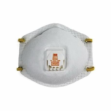 3M 051138-54343 Disposable Particulate Respirator With Cool Flow Exhalation Valve and Adjustable M-Nose Clip, Standard, N95, 0.95, Dual Braided Elastic Headstrap, White