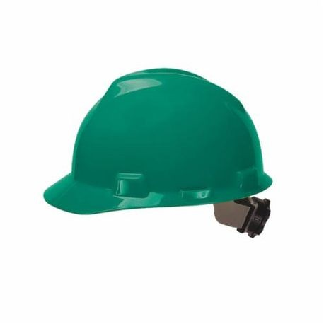 V-Gard 475362 Front Brim Slotted Hard Hat, Fits Hat 6-1/2 to 8 in Green Polyethylene Fas-Trac III 4-Point Ratchet Suspension, Class E