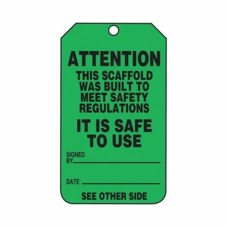 Accuform TRS328CTP Tear Resistant Waterproof Scaffold Status Tag, 5-3/4 in H x 3-1/4 in W, Black/Green, 3/8 in Hole, PF-Cardstock