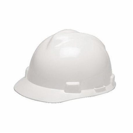 V-Gard 475358 Front Brim Slotted Hard Hat, Fits Hat 6-1/2 to 8 in White Polyethylene Fas-Trac III 4-Point Ratchet Suspension, Class E