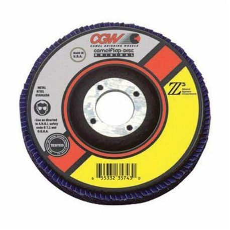 CGW54004 Ultimate Contaminant-Free Compact Wider/XTRA Material Coated Abrasive Flap Disc, 4-1/2 in Dia, 7/8 in Center Hole, 60 Grit, Medium Grade, Z3Zirconia Alumina Abrasive, Type 27/Depressed Center Flat Disc