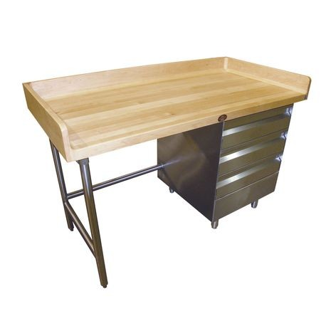 "Advance Tabco BGT-305R Bakers Top Work Table, 60""W x 30""D, 1-3/4"" thick wood top with 4"" splash at rear & both sides, (3) tiers of drawers on right"