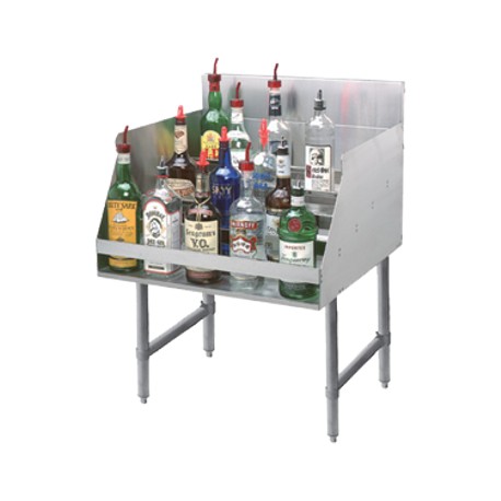 "Advance Tabco LD-2118-X Liquor Bottle Display Unit, (5) steps, 18""W x 26""D x 33""H, approximately (20) bottle capacity, 4"" backsplash, stainless steel"