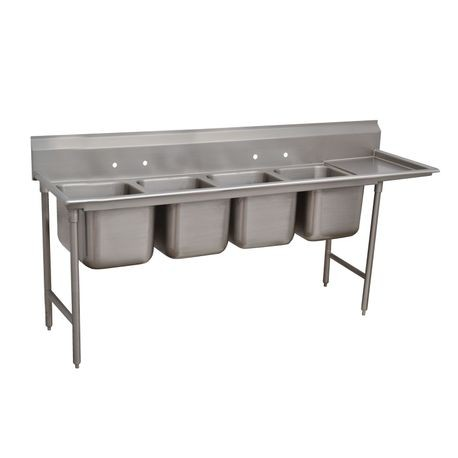 "Advance Tabco 9-4-72-18R Regaline Sink, 4-compartment, with right-hand drainboard, 20"" front-to-back x 16""W sink compartments, 12"" deep, with 8""H"
