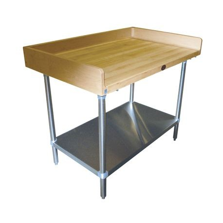 "Advance Tabco BG-366 Bakers Top Work Table, 72""W x 36""D, 1-3/4"" thick wood top with 4"" splash at rear & both sides, adjustable galvanized undershelf"