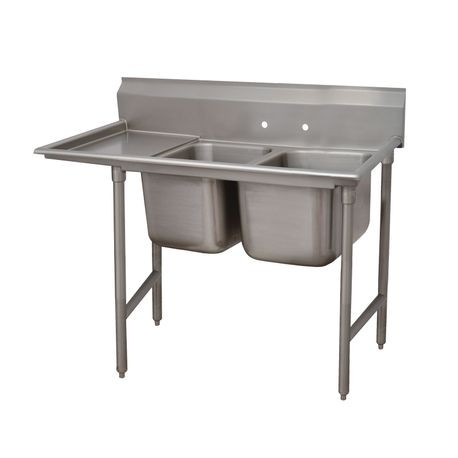 "Advance Tabco 9-82-40-36L Regaline Sink, 2-compartment, with left-hand drainboard, 28"" front-to-back x 20""W sink compartments, 12"" deep, with 8""H"