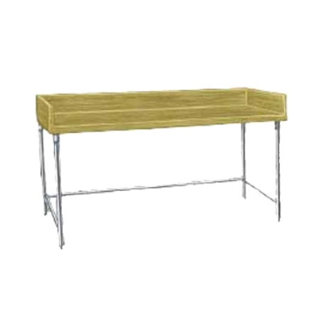 "Advance Tabco TBS-366 Bakers Top Work Table, 72""W x 36""D, 1-3/4"" thick wood top with 4"" splash at rear & both sides, stainless steel legs with cross"