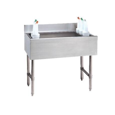 "Advance Tabco CRI-16-36-7 Underbar Basics Cocktail Unit, 16"" deep chest with 7-circuit post mix cold plate, 36""W x 21""D x 33""H, 4""H splash, approximately"