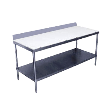 "Advance Tabco SPS-244 Poly-Top Work Table, 48""W x 24""D, 5/8"" thick Poly-Vance top with 6""H stainless steel backsplash, adjustable stainless steel"