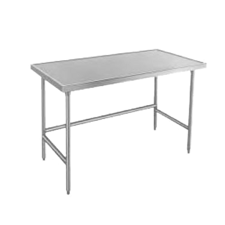 "Advance Tabco TVSS-366 Work Table, 72""W x 48""D, 14 gauge 304 series stainless steel top with countertop non drip edge, stainless steel legs with side"
