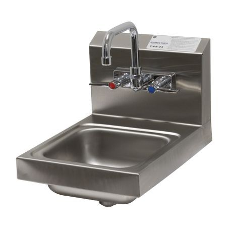 "Advance Tabco 7-PS-23 Hand Sink, wall model, 9"" wide x 9"" front-to-back x 5"" deep bowl, 20 gauge 304 series stainless steel, splash mounted faucet, drain"