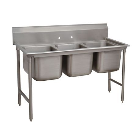 "Advance Tabco 9-83-60 Regaline Sink, 3-compartment, 28"" front-to-back x 20"" wide sink compartments, 12"" deep, with 8"" high splash, stainless steel open"
