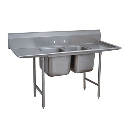 "Advance Tabco 9-42-48-24RL Regaline Sink, 2-compartment, with left & right-hand drainboards, 24"" front-to-back x 24""W sink compartment, 12"" deep, with 8""H"