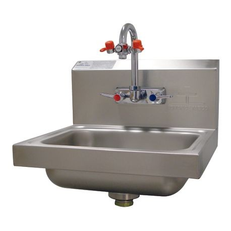 "Advance Tabco 7-PS-55 Eye Wash Hand Sink, wall model, 14"" wide x 10"" front-to-back x 5"" deep bowl, 20 gauge 304 series stainless steel, splash mounted"