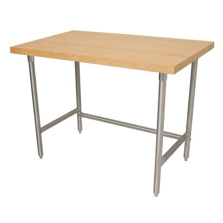 "Advance Tabco TH2S-305 Maple Top Work Table, 60""W x 30""D, 1-3/4"" thick laminated hard maple wood top, stainless steel legs with stainless steel side"