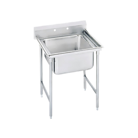 "Advance Tabco 94-21-20 Regaline Sink, 1-compartment, 20"" front-to-back x 20"" wide sink compartment, 14"" deep, with 11"" high splash, stainless steel legs"