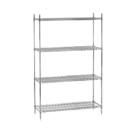 "Advance Tabco EGG-1448 Shelving Unit, wire, 48""W x 14""D x 74""H, includes: (4) shelves & (4) post with adjustable feet, green epoxy finish, NSF, KD"