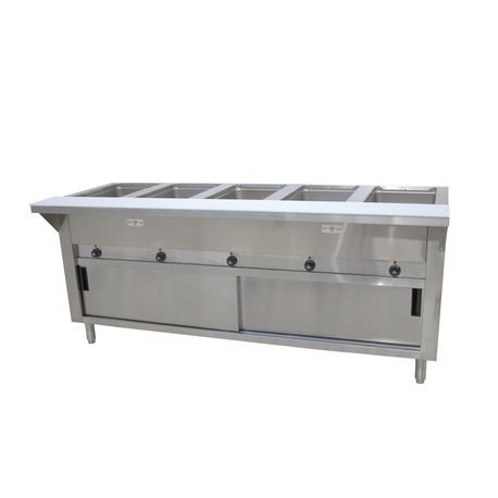 "Advance Tabco HF-5E-240-DR Hot Food Table, electric, 77-3/4""W x 22-5/8""D x 34-1/8""H, (5) 12"" x 20"" wells (accommodates pan inserts up to 7-3/4"" deep)"