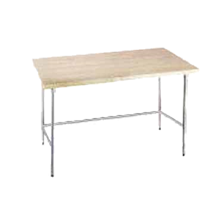 "Advance Tabco TH2G-245 Maple Top Work Table, 60""W x 24""D, 1-3/4"" thick laminated hard maple wood top, galvanized legs with galvanized side & rear"