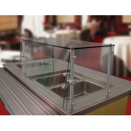 "Advance Tabco GSGC-18-36 Sleek Shield Food Shield, cafeteria style, 36""W x 18""D x 18""H, with glass top shelf, 1/4"" thick heat tempered glass front & side"