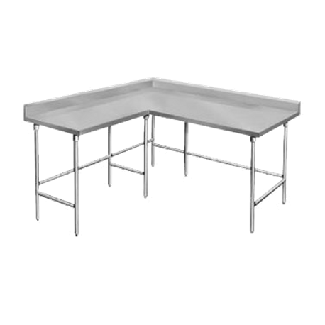 "Advance Tabco KTMS-247 Work Table, L-shaped, 84""W x 24""D & 60""W x 24""D (specify left & right sides), 14 gauge 304 series stainless steel top with 5""H"