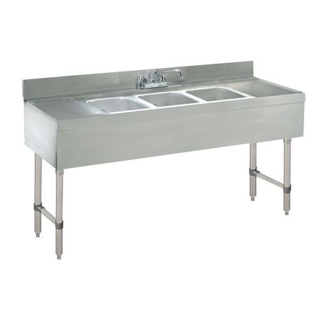 "Advance Tabco CRB-63C-X Underbar Sink Unit, 3-compartment, 72""W x 21""D x 33""H overall, 4""H backsplash, (3) 10""W x 14""D x 10"" deep fabricated sink bowls"