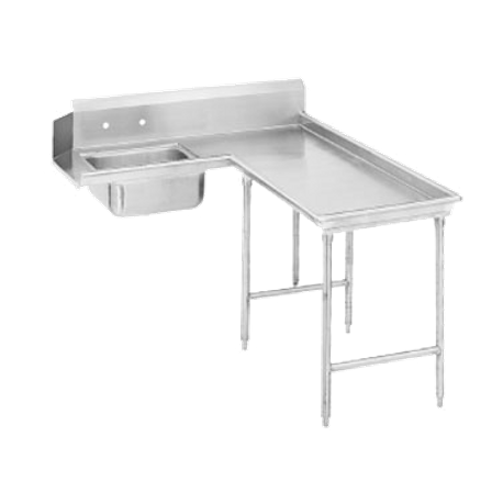"Advance Tabco DTS-G30-96R Island-Soil Dishtable, L-shaped, right-to-left, 10-1/2""H backsplash one side, with pre-rinse sink, stainless steel legs with"