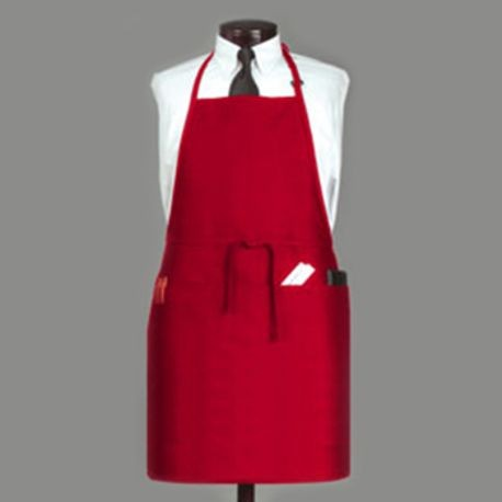 APRON BIB 3 POCKET DARK RED POLYESTER