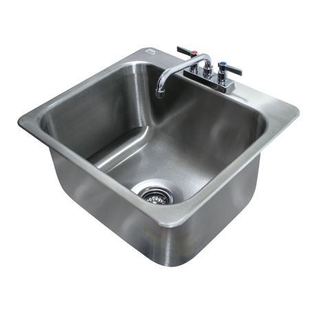 "Advance Tabco DI-1-2012 Drop-In Sink, 1-compartment, 20"" wide x 16"" front-to-back x 12"" deep bowl, 18 gauge 304 series stainless steel, with deck mounted"
