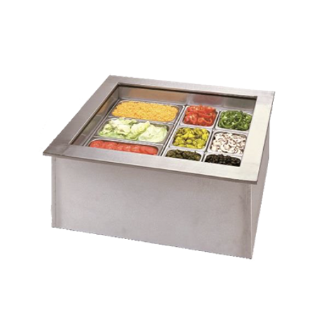 "APW ICP-300 Cold Food Well Unit, drop-in, ice-cooled, (3) 12"" x 20"" pan capacity, insulated walls, perforated bottom strainer, drain, includes:"