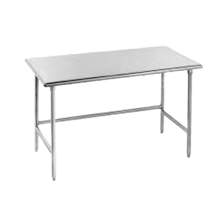 "Advance Tabco TAG-3610 Work Table, 120""W x 36""D, 16 gauge 430 stainless steel top, galvanized legs with side & rear crossrails, adjustable plastic bullet"