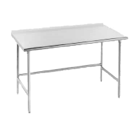 "Advance Tabco TSFG-3012 Work Table, 144""W x 30""D, 16 gauge 430 series stainless steel top with 1-1/2"" rear upturn, stainless steel legs with stainless"