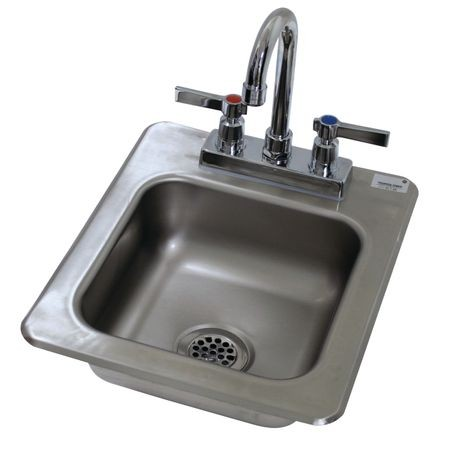 "Advance Tabco DI-1-25 Drop-In Sink, 1-compartment, 9"" wide x 9"" front-to-back x 5"" deep bowl, 20 gauge 304 series stainless steel, with deck mounted"