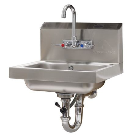 "Advance Tabco 7-PS-50 Hand Sink, wall model, 14"" wide x 10"" front-to-back x 5"" deep bowl, 20 gauge 304 series stainless steel, with splash mounted faucet"
