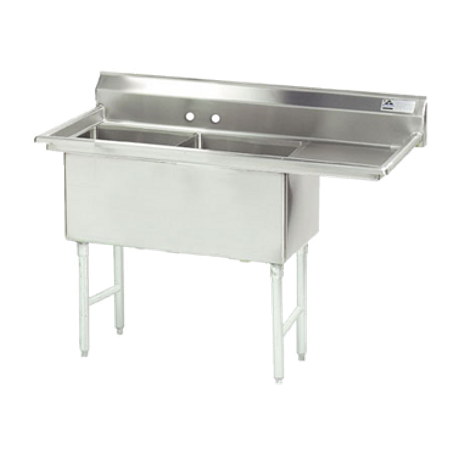"Advance Tabco FS-2-3024-24R Fabricated NSF Sink, 2-compartment, 24"" right drainboard, bowl size 30"" x 24"" x 14"" deep, 14 gauge 304 series stainless steel"
