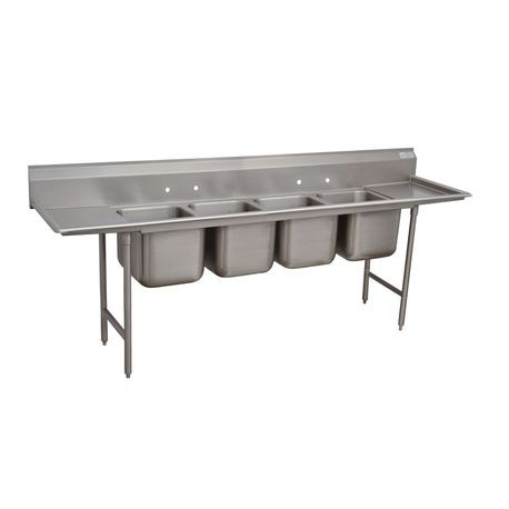 "Advance Tabco 94-44-96-36RL Regaline Sink, 4-compartment, with left & right-hand drainboards, 24"" front-to-back x 24""W sink compartments, 14"" deep, with"