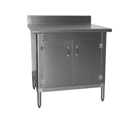 Eagle TBABSHGDX Work Table With Cabinet Kit W X D - Stainless steel table with backsplash and sides
