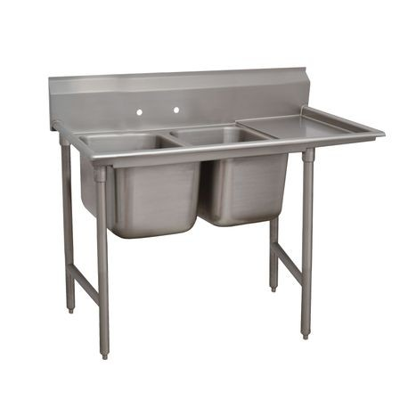 "Advance Tabco 9-82-40-36R Regaline Sink, 2-compartment, with right-hand drainboard, 28"" front-to-back x 20""W sink compartments, 12"" deep, with 8""H"