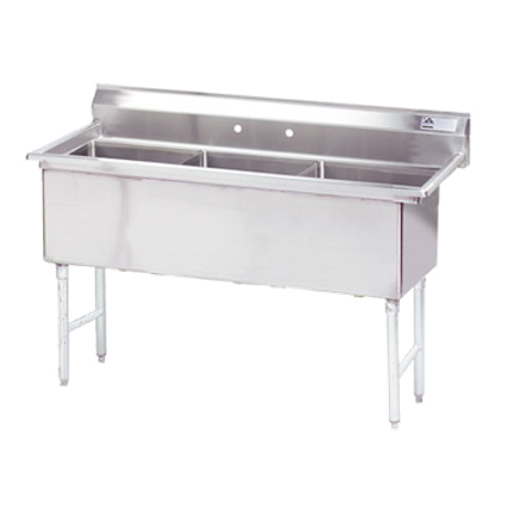 "Advance Tabco FC-3-1824 Fabricated NSF Sink, 3-compartment, no drainboards, bowl size 18"" x 24"" x 14"" deep, 16 gauge 304 series stainless steel, tile edge"