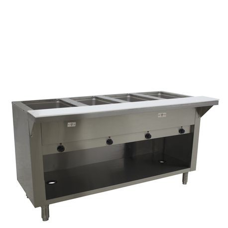 "Advance Tabco HF-4E-240-BS Hot Food Table, electric, 62-3/8""W x 22-5/8""D x 34-1/8""H, (4) 12"" x 20"" wells (accommodates pan inserts up to 7-3/4"" deep)"