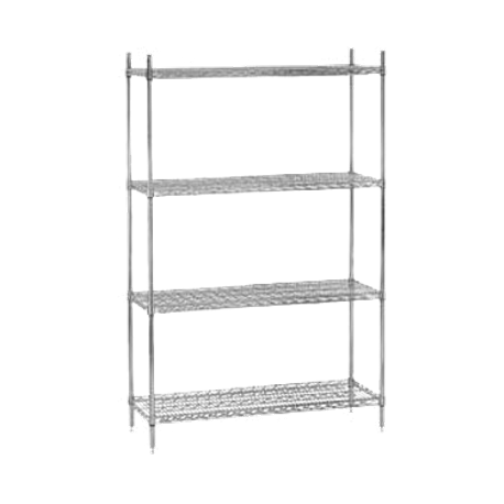 "Advance Tabco ECC-1860-X Shelving Unit, wire, 60""W x 18""D x 74""H, includes: (4) shelves & (4) post with adjustable feet, chrome finish, NSF, KD"