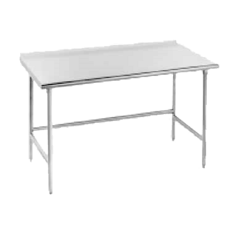 "Advance Tabco TFAG-3610 Work Table, 120""W x 36""D, 16 gauge 430 series stainless steel top with 1-1/2"" rear upturn, galvanized legs with galvanized side"