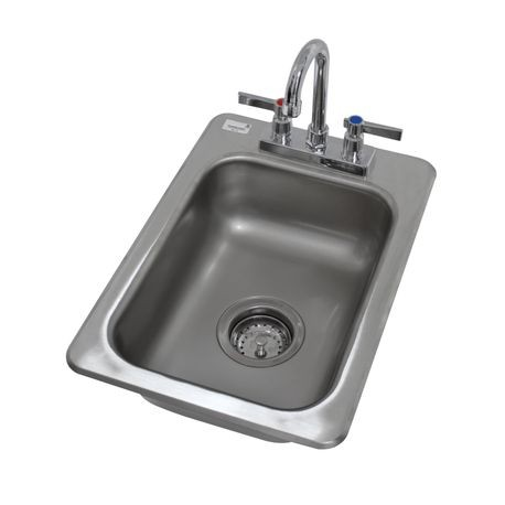 "Advance Tabco DI-1-5 Drop-In Sink, 1-compartment, 10"" wide x 14"" front-to-back x 5"" deep bowl, 20 gauge 304 series stainless steel, with deck mounted"