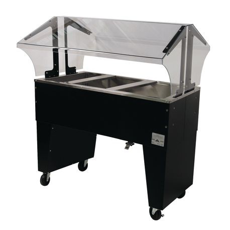 "Advance Tabco B3-CPU-B-X Ice Cooled Portable Food Buffet Table, 47-1/8""W x 35""D x 53""H, double sided sneeze guard, accommodates (3) 12"" x 20"" pans inserts"