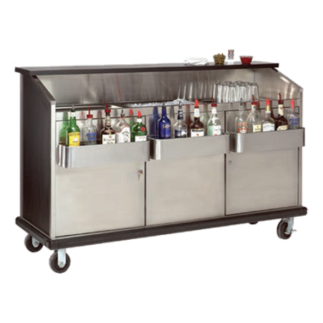 "Advance Tabco AMS-6B Ambassador Portable Bar, 74""W x 23""D x 47""H, stainless steel workboard & ice bin, BK style bottle troughs, stainless steel interior"