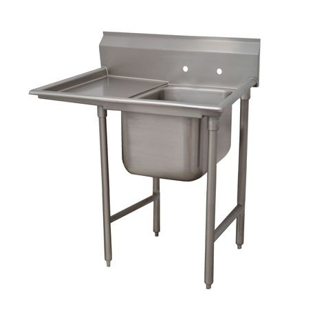 "Advance Tabco 9-61-18-36L Regaline Sink, 1-compartment, with left-hand drainboard, 24"" front-to-back x 18""W sink compartment, 12"" deep, with 8""H"