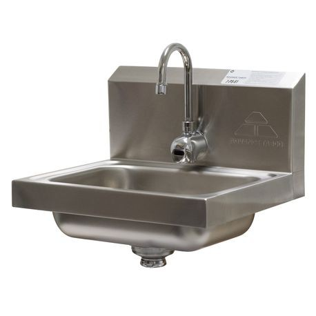 "Advance Tabco 7-PS-61 Hand Sink, wall model, 14"" wide x 10"" front-to-back x 5"" deep bowl, 20 gauge 304 series stainless steel, electronic faucet (battery"
