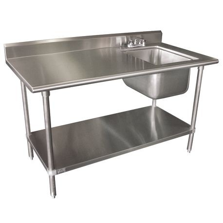 "Advance Tabco KMS-11B-305R-X Work Table with Right Sink, 60""W x 30""D, 16 gauge 304 series stainless steel top with 16"" x 20"" x 12"" deep sink bowl on"