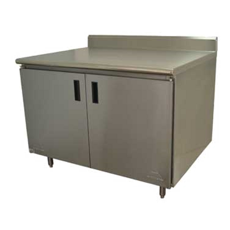 "Advance Tabco HK-SS-363 Work Table, 36""W x 36""D, cabinet base with hinged doors, 14 gauge 304 series stainless steel top with 5""H backsplash, stainless"